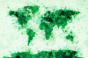 Country Framed Prints - World Map Paint Splashes Green Framed Print by Michael Tompsett