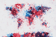 City Map Digital Art Prints - World Map Paint Splashes Print by Michael Tompsett