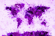 City Framed Prints - World Map Paint Splashes Purple Framed Print by Michael Tompsett