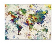 Flower Map Framed Prints - World Map Paint Splashes Framed Print by WaterColorMaps Chris and Mary Ann