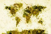 Splash Digital Art Posters - World Map Paint Splashes Yellow Poster by Michael Tompsett