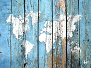 World Map Canvas Digital Art Metal Prints - World Map Print Metal Print by Steve Will