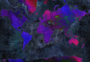 Global Map Mixed Media - World Map - Purple Flip The Dark Night - Abstract - Digital Painting 2 by Andee Photography