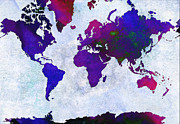 Geography Mixed Media Framed Prints - World Map - Purple Flip The Light Of Day - Abstract - Digital Painting 2 Framed Print by Andee Photography