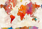Atlas Mixed Media Posters - World Map - Rainbow Passion - Abstract - Digital Painting 2 Poster by Andee Photography