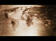 Metal Pyrography Prints - World Map Print by Raluca Serdaru