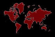 Planet Map Prints - World Map Red Grid Print by Andrew Fare