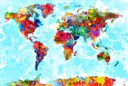 Watercolor Map Prints - World Map Spattered Paint Print by Gary Grayson