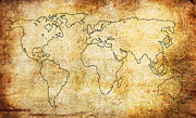 Map Art Photo Prints - World Map Print by Steve McKinzie