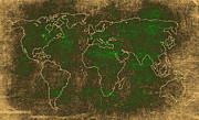 World Map Canvas Photos - World Map Stucco by Steve McKinzie