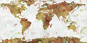 World Map Watercolor 3 Print by Paulette B Wright