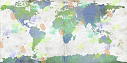 Most Digital Art Posters - World Map Watercolor 4 Poster by Paulette Wright