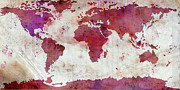 Most Digital Art Posters - World Map Watercolor 5 Poster by Paulette Wright
