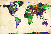 Atlas Digital Art - World Map Watercolor by Gary Grayson