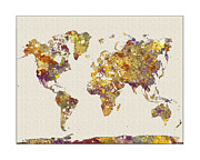 Flower Map Posters - World Map Watercolor Map of the World Poster by WaterColorMaps Chris and Mary Ann