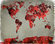 World Map Digital Art Acrylic Prints - World Map - watercolor red-black-gray Acrylic Print by Paulette Wright