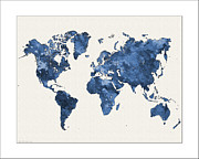 Flower Map Posters - World Map Watercolor Poster by WaterColorMaps Chris and Mary Ann