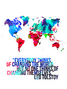 World Map Poster Art - World Map with a Quote 1 by Irina  March