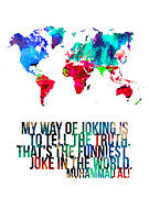 World Map Poster Art - World Map with a Quote 2 by Irina  March