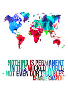 World Map Poster Art - World Map with a Quote 3 by Irina  March