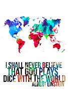 World Map Digital Art Metal Prints - World Map with a Quote 4 Metal Print by Irina  March