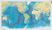 Cartography Digital Art - World Ocean Floor Panorama by Fiona Schiano-Yacopino