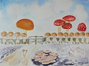 Alice In Wonderland Paintings - World of Mushroom  by Geeta Biswas