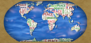 World Text Map Prints - World Peace Print by Chris Goulette