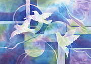 Peace Doves Paintings - World Peace by Deborah Ronglien
