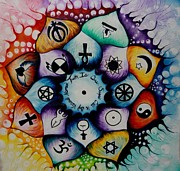 Religions Paintings - World Religion Lotus by Alicia Post