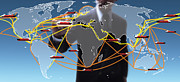 Business Metal Prints - World Shipping Routes Map Metal Print by Atiketta Sangasaeng