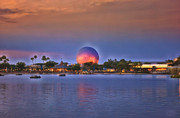 Magic Kingdom Photographs Prints - World Showcase Lagoon Sunset Print by Thomas Woolworth
