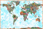 World Map Canvas Art - World Stamps Map by Gary Grayson