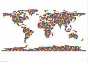 World Map Print Digital Art Prints - World Tetris Map  Print by Stephen Gowland
