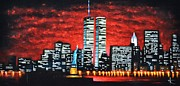 Twin Towers Trade Center Painting Metal Prints - World Trade Center Buildings SOLD Metal Print by Thomas Kolendra