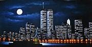 Black Light Art Painting Originals - World Trade Center Buildings by Thomas Kolendra