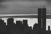 Twin Towers Trade Center Digital Art Posters - World Trade Center  Silhouette - Black And White Poster by Steven Hlavac