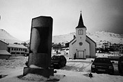Honningsvag Prints - world war 2 memorial outside Honningsvag kirke church finnmark norway europe Print by Joe Fox