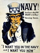 Want Drawings Prints - World War I 1914 1918 American recruitment poster 1917 Navy Uncle Sam is calling you  Print by Anonymous