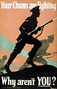 Silhouette Drawings Posters - World War I 1914-1918 British Army recruitment poster 1917 Your Chums are Fighting Poster by Anonymous