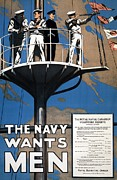 Wants Framed Prints - World War I 1914 1918 Canadian recruitment poster for the Royal Canadian Navy  Framed Print by Anonymous