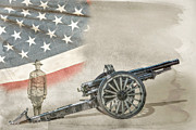 Doughboy Digital Art Prints - World War I Soldier and Cannon Print by Randy Steele