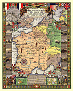 Antique Digital Art Posters - World War II Map Poster by Gary Grayson