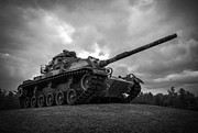 Army Tank Framed Prints - World War II Tank Black and White Framed Print by Glenn Gordon