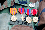 Infantryman Digital Art - World war II veteran medals by Cheryl Casey