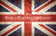 First World War Posters - World War One Centenary Union Jack Poster by Jane Rix