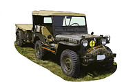 Historic Military Vehicle Posters - World War Two Army Jeep With Trailer  Poster by Keith Webber Jr