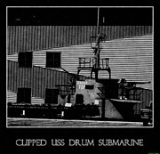 Us Navy Drawings Prints - World War Two USS Drum Submarine Print by Rosemarie E Seppala