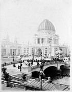 Chicago Black White Digital Art Posters - Worlds Columbian Exposition Chicago Poster by Nomad Art And  Design