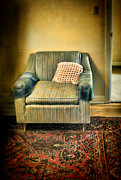 Old Rug Framed Prints - Worn Chair by Doorway Framed Print by Jill Battaglia